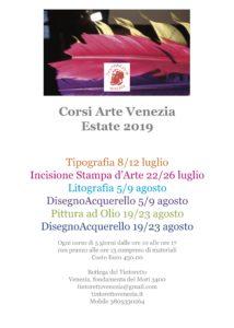 Corsi Arte Venezia ESTATE 2019